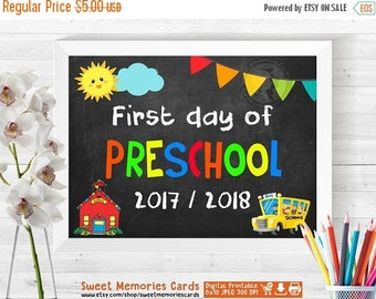 50% OFF SALE First Day of Preschool Sign INSTANT Download - First Day of School Chalkboard Sign Printable Photo Prop - 1st First Day of Pres