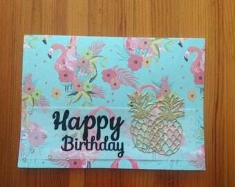 Birthday card, tropical birthday card,