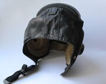 Soviet aviator helmet, Vintage military helmet, Vintage motorcycle helmet, Pilot, leather aviation helmet. Flying helmet, Hat.