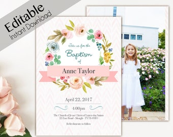 Baptism Invitation Girl, Editable PDF, Girl Invitation pink watercolor, Baptism Invite, invitation double side, back side, Baptism template