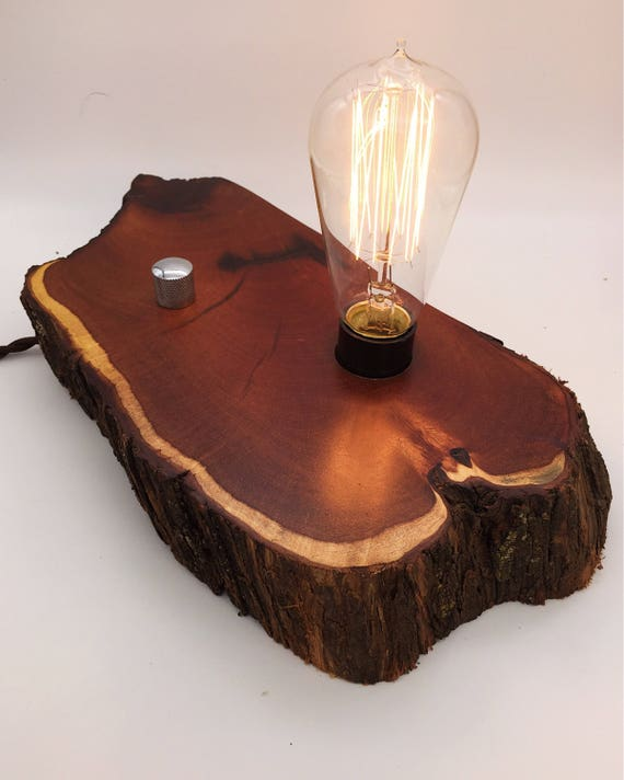 Live Figured Kiawe Wood Block Desk Lamp. Edison Bulb and Telecaster style knob.