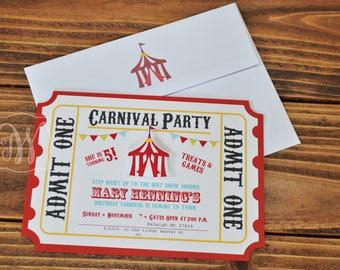 Carnival Invitation, Circus Invitation, Circus Invite, Circus Invitations, Set of 12