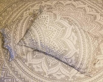 Mandala tapestry, Mandala Bedding, Silver Mandala Tapestry, Queen size, Boho wall hanging, Boho Decor, gypsy bedding