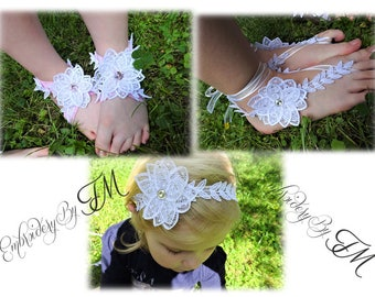 Design FSL  flower for barefoot sandals or headband / for adults and for older children and babies/4x4 hoop
