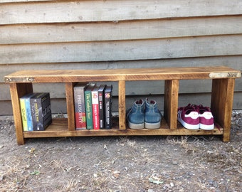 Rustic bench - handmade from reclaimed scaffold boards