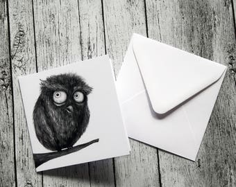 Funny Owl Illustration Greeting Card