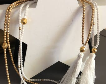 """glass beads necklace """"white and gold matte"""" tassel attached"""