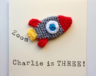 Personalised Handmade Crochet Rocket Applique Greetings Birthday Card
