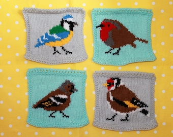 Knitting Pattern PDF Download - Garden Birds Intarsia Squares for Blanket, Bunting Wall Hanging, Wall Art