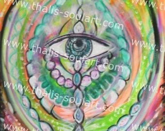 """ORIGINAL """"awakening dreams"""" canvas. psychedelic 70 x 50 cm"""