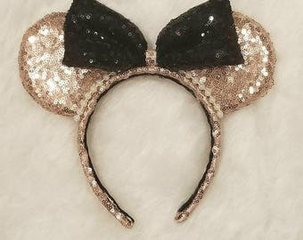 Rose Gold Minnie Ears with black sequin bow, rose gold ears, rose gold sequin ears, chic minnie ears, classy minnie ears, contemporary ears
