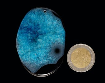 Unique blue black druzy geode agate  (EA248)