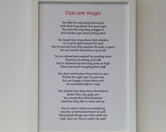 Cat lover gift, Framed original poem, Personalised home decor wall print for feline fans, perfect birthday, Christmas present for pet lovers