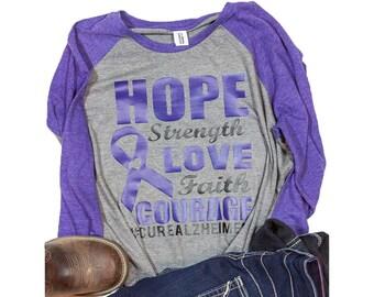Alzheimer awareness raglan shirt for women / Alzheimer raglan /  womans Alzheimer shirt / hope Alzheimer shirt / awareness tshirt