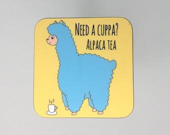 Alpaca Cup of Tea Funny Coaster