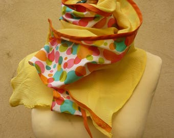 Cotton scarf & yellow silk and multicolored polka dots