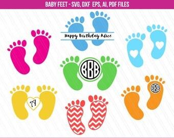Baby feet svg, Baby feet monogram frames svg, Baby feet clipart, Chevron baby feet, Baby shower clipart, Svg files - Svg, Dxf, Ai, Pdf, Eps