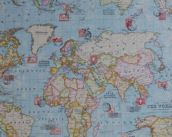 Blue Pillow Cover, World Map Pillow, Globe, Aqua, Pink, Green, Atlas, Modern, Throw Pillow, SummerHome, Oceans, Continents, SummerHome