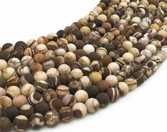 1Full Strand Matte Brown Zebra Jasper Beads 6mm 8mm 10mm Wholesale Gemstone For Jewelry Making