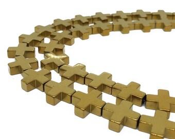 1Full Strand Gold Hematite Cross Beads, 8mm 10mm 12mm Hematite Beads For Jewelry Making