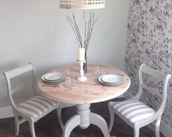 Pine Dining Table & 2 reupholstered chairs