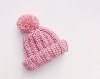 Childrens Hat   Chunky Crochet Beanie   Chunky Crochet Hat   Crochet   Pom Pom Hat   Newborn