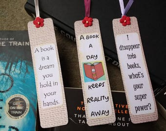 Handmade Bookmarks, bookmark, book lover gift, gift for readers, bookworm gift, readers gift, stocking filler