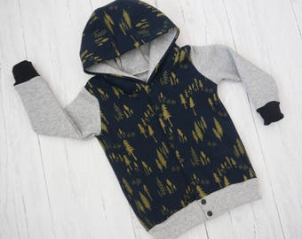Winter Forest Button front Hoody, Kidswear, Baby Clothes, lined, JMW Kids, Autum jumper, Jersey, boys hoody, Unisex, hoody, button jumper