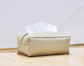 Rectangle Tissue Box Cover, Facial Tissue Holder, Soft Touch, Beige
