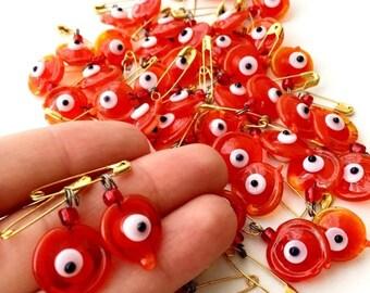 PROMO 25 pcs Glass wedding favors evil eye, red evil eye pins, unique wedding favors, tiny evil eye safety pins, evil eye stroller, nazar bo