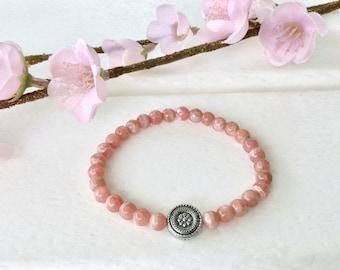 Rhodochrosite Bracelet, 6mm beaded bracelet