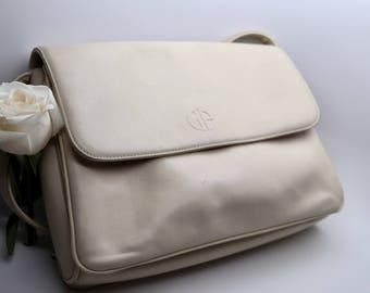 Estate Giani Bernini Leather Shoulder Bag, White leather purse, Ivory leather shoulder bag with strap, 3rd anniversary gift