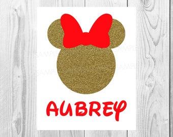 Minnie Mouse Iron On Transfer - DIY Birthday Disney Disneyland Disney World - Birthday Girl Personalized Customized