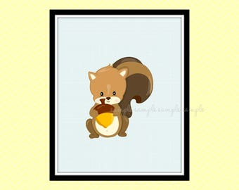 Woodland Nursery Decor, Woodland Animals Printable Wall Art, Squirrel Wall Art Decor, Baby Wall Art Decor, Instant Download