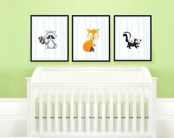 Woodland Nursery Decor, Woodland Animals Printable Wall Art, Deer, Skunk, Fox, Bear, Hedgehog, Squirrel, Raccoon, set of 3, you pick