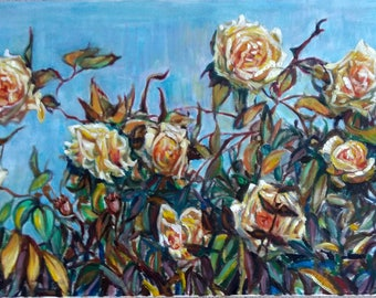 "Original Oil Painting, Yellow Roses , 19.5""x39.5"", 50cmx100cm, 171107"