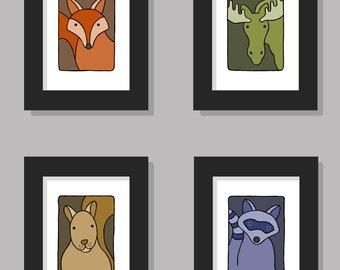 "Woodland - Animal Wall Art - Nursery Children's Kids Baby Boys Girls - Bedroom Decor - Original Drawing - Printable Digital Download 8""x10"""