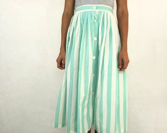 VINTAGE Mint Aqua Stripe Pleat 70s Skirt Size S 10 12