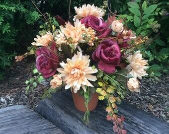 Artificial Flower Arrangement, Autumn Arrangement, Table centerpiece, Clay Pot Fall Flowers,  Floral  in Terra Cotta Pot, Made in Canada