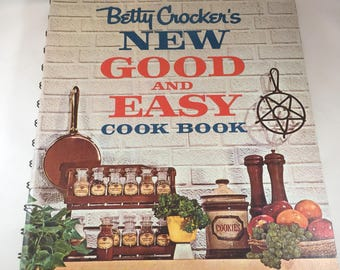 Vintage Betty Crocker Cookbook, New Good and Easy, 1960s Cookbook, Vintage Kitchen, Recipe Collection, Spiral Cookbook, Retro Cookbook