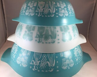 Pyrex Amish Butterprint Bowls - Pyrex Cinderella Bowls - Turquoise Pyrex - Set of 3 Bowls - Vintage Pyrex - Amish Print Pyrex - 1950s Pyrex