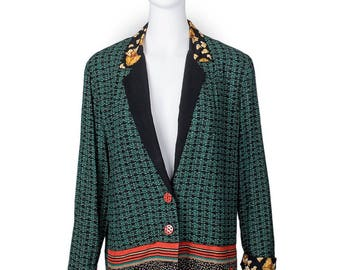 The Chicken Blazer! 80's Quirky Chic Multicolored super fun print blazer with red buttons