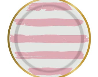 Mini Pink Plates, Pink Striped Plates, Pink and White, Summer Plates,Summer Party,White and Gold,Pink and Gold, Gold Foil Plates,Pink Party