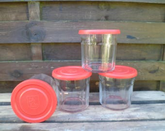 Vintage set of 4 jam jars with lids, in France