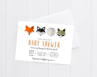 Woodlands Baby Shower Invitation | Neutral Baby Shower | Boy Baby Shower | Printable Invitation | PDF Invitation | Animals | Fox | Raccoon