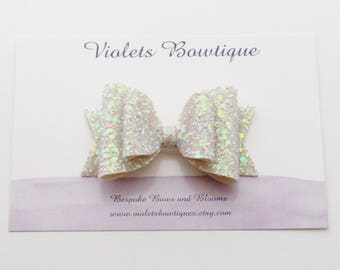 Ivory iridescent hair bow, ivory glitter bow, wedding hair bow, christening headband