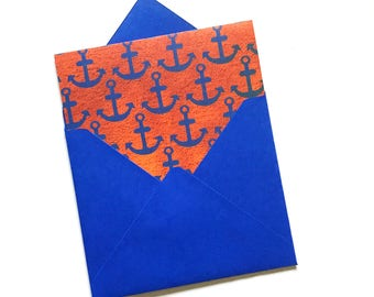 Nautical stationery, anchor cards, nautical theme notes, ship theme party, child birthday stationery, blank thank you cards, large thank you