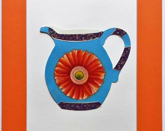 Original paper collage matted for hanging – Pitchers & Bowls Series #18