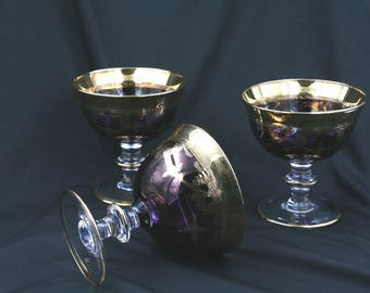 Gold-Rimmed Amethyst-Colored Goblets- Antique-Set of 3