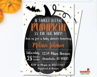 Halloween Baby Shower Invitations. Pumpkin Baby Shower Invitations. Gender Neutral Pumpkin Invitation. Black and Gold Pumpkin. C47
